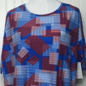NWT LuLaRoe Irma SMALL red white blue